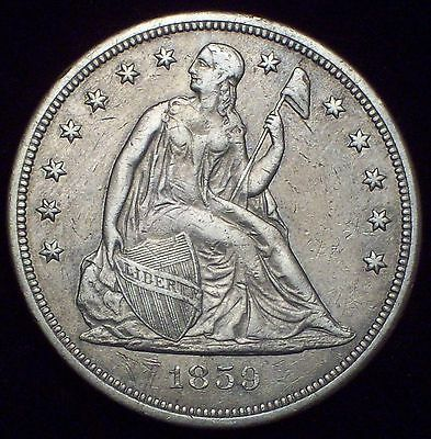 1859 S Seated SILVER DOLLAR XF Detailing Authentic *RARE KEY* Only 20000 Minted!
