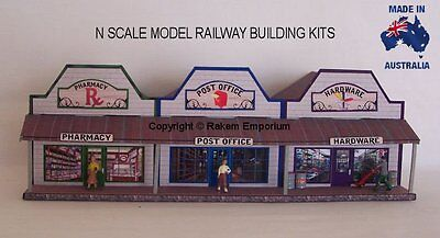 N Scale Country Pharmacy, PO, Hardware, Model Railway Building Kit - NRCS2