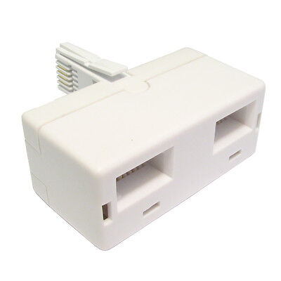 Uk 2  WAY BT Telephone  Socket  2 WAY Phone AdapterNew Dobule  Adapter Splitter