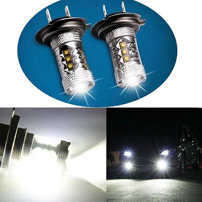 2x White H7 80W CREE LED Car Fog Tail Driving Lamp Bulb Super Bright Canbus