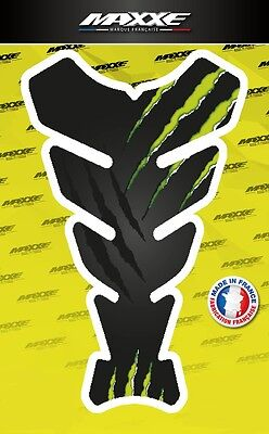 Protection réservoir griffe moto noir vert sticker gel bike gas tank monster