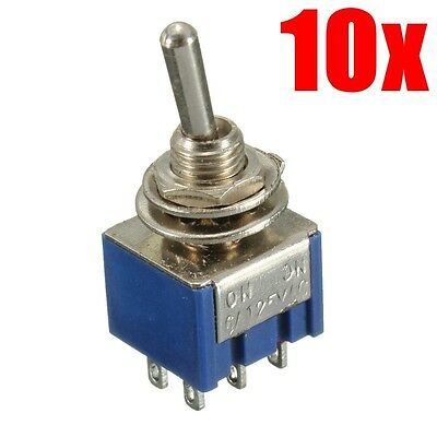 10Pcs 6 Pin 2 Way ON-ON DPDT Double Pole Double Throw Mini Toggle Switch 6A/125V
