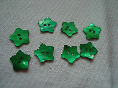 8 Green Star  Shape Agoya/Mother of Pearl Buttons