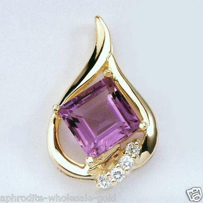 New 9K - Solid Gold Pendant With Amethyst & Diamonds, Instock