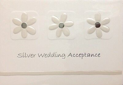 Silver 25th Wedding Anniversary Invitation Acceptance ~ Luxury Card ~ Special
