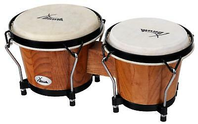 "1 Pair Percussion Club Bongos Size 6"" 7"" Hand Instrument Black Satin Tobacco"