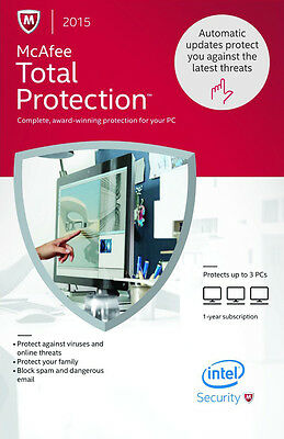 McAfee TOTAL PROTECTION 2015 3PC/1YEAR | DOWNLOAD | NO CD