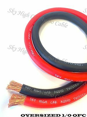 40 ft OFC 1/0 Gauge Oversized 20' RED & 20' BLACK Power Ground Wire Sky High Car