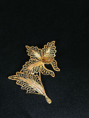 Sterling Silver Gold Plated Filigree Flower with Stem and Petal Pin