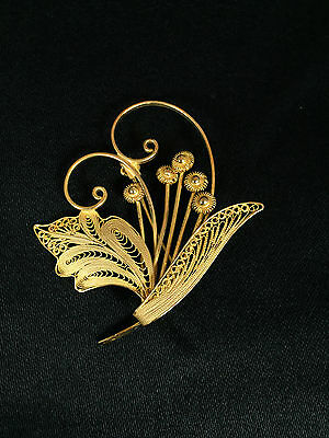 Sterling Silver Gold Plated Filigree Flower Bouquet Pin