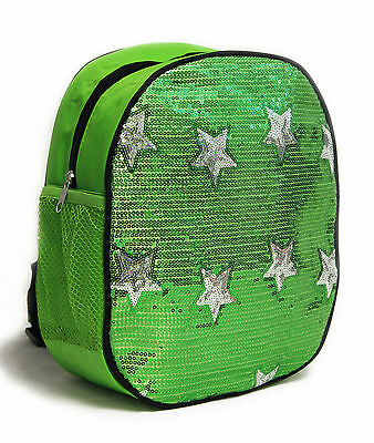 Dance Bag Girls Sequin Star Backpack Bright Green NEW