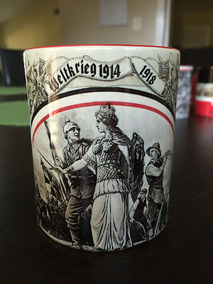 WWI German Patriotic Mug 1914/18 Iron Cross Kaiser Soldiers WW1 coffee mug red