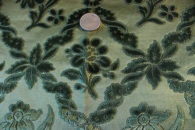 "Antique French Cut Silk Velvet Textile Fabric ~22"" Square~Pillows, Xmas Projects"