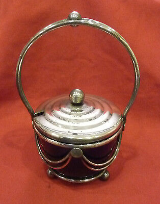 English silverplate jam jar, with handle cobalt glass insert, beautiful