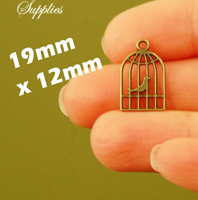 20 x small bronze bird in cage charm pendant for earring