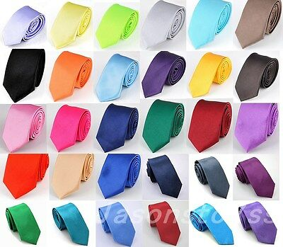 Mens Wedding Slim Skinny Thin Solid Colour Narrow Necktie Plain Satin Tie New
