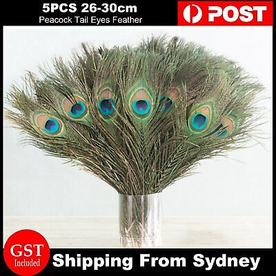 5pcs 26-30cm Wedding Event Peacock Tail Eye Feather Feathers Party DIY Craft Dec