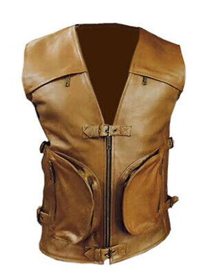 Mens Biker Style Genuine Cow Leather Brown Motorcycle Vest Waistcoat