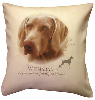 Weimaraner HR Cotton Cushion Cover - Choose Cream or White Cover - Gift Item