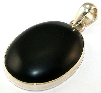 Sterling Silver Unpolished Onyx Pendant Jewellery PEND471