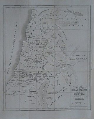Original 1827 Bible Map PALESTINE HOLY LAND Tribes Beersheba Jerusalem Damascus