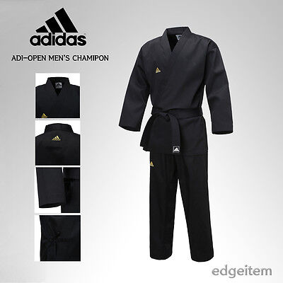 Adidas ADI-OPEN Dobok Men's Champion Uniform Black Taekwondo Hapkido Karate TKD