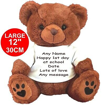 "Personalised Brown Teddy Bear 30Cm/12""  Teacher  1St Day At School Any Message"