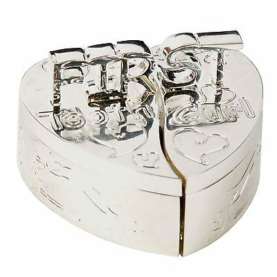 My First Tooth & Curl Silver Plated Heart Trinket Box Baby Keepsake Gift