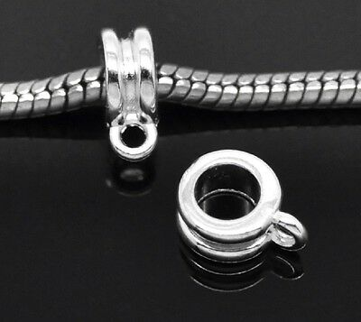 50 x  Silver Plated  Alloy Loop Bail Bails Beads fit necklace Bracelet(B19544)