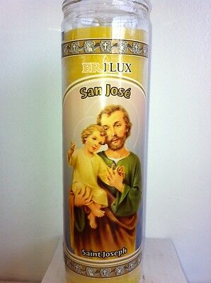 Saint Joseph 7 Day Unscented Yellow Candle In Glass (San Jose)