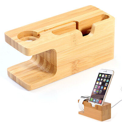Bamboo Charge Dock Station Holder Stand For Apple Watch iWatch 42mm 38mm iPhone