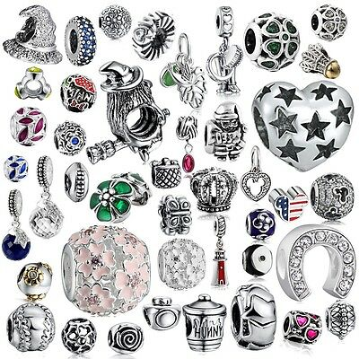 A24 Silver Charms Beads dangle Fit 925 sterling Necklace European charm Bracelet