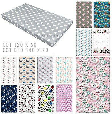 Baby fitted sheet  for Cot 120 x 60 Cot Bed 140 x 70 100% Cotton patterned