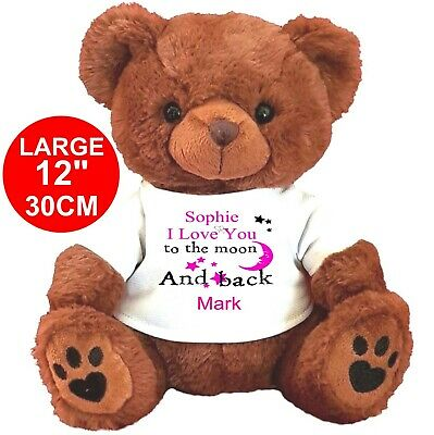 """PERSONALISED BROWN TEDDY BEAR 25cm/10"""" SITTING VALENTINES DAY MOON AND BACK"""