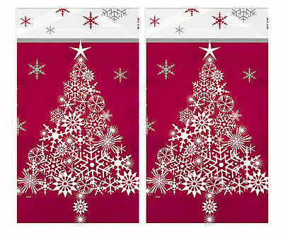 Red Christmas Tree and Snowflake | Festive Party Tablecover | Tablecloth 1-5pk