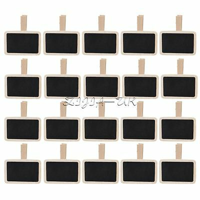 20pcs Clip on Peg Blackboard Wedding Party Sign Table Note Number Label Holder
