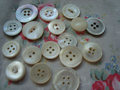 17  Large  Vintage  Mother of Pearl Buttons