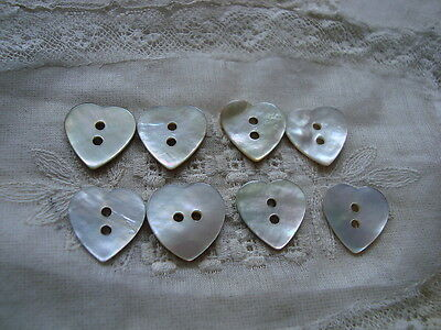 8 Heart Shaped Agoya Shell Buttons