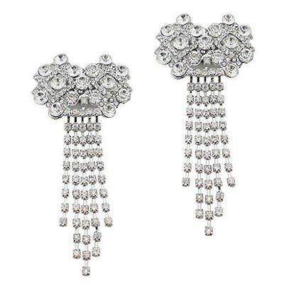 "Silver Jewelled Shoe Clips, Shoe Embellishments, Brooches (1 Pair) ""Aneeka"""