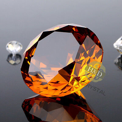 30mm Amber Crystal Diamond Shape Paperweight Glass Display Wedding Gift Ornament