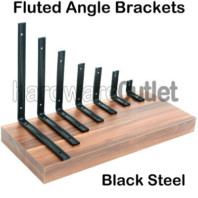 "BLACK Coated Galvanised 1"" Fluted Heavy Duty Shelf Brackets 7 sizes available."