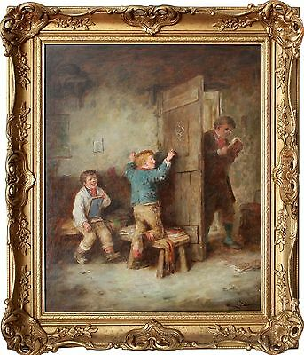 British 19th Century Oil Painting by Mark William Langlois Of Children 1862-1873