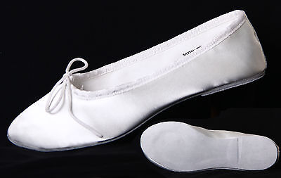 Formal Adult White Satin Ballet Shoes Bridal / Weddings Etc. Danshuz Size 4 & 5