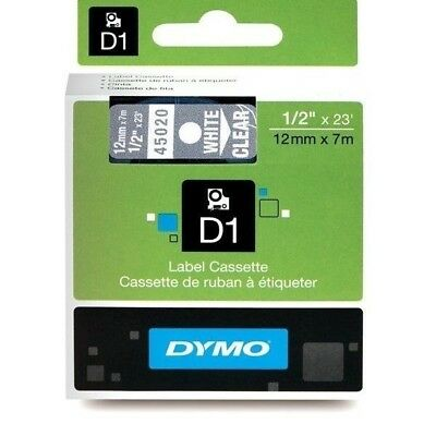 Genuine DYMO D1 LABEL 12mm x 7m - White on Clear 45020