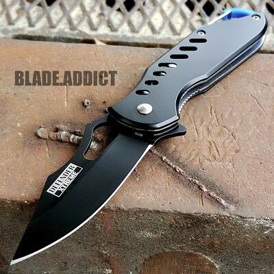 "6.5"" Black Satin Finish Tactical Combat Spring Assisted Open Pocket Knife Edc"