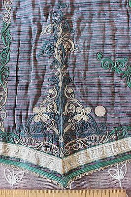 """French Antique 19thC Silk & Gold Metallic Embroidered Fabric 1870~21""""LX20""""W~Home"""