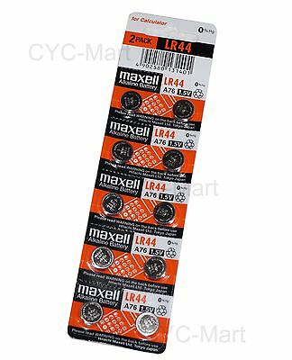 New 0% Hg Genuine Maxell  LR44 AG13 L1154 SR44 357 Batteries x10 pcs, FREE POST