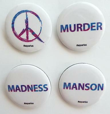 NEW EXCLUSIVE SDCC 2015 AQUARIUS CHARLES MANSON  Pinback Buttons Set Of 4