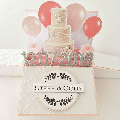 Handmade Personalised Wedding card, engagement card, Name & Date personalized