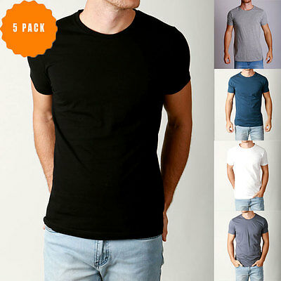 New Mens Basic CREW neck Tees cotton Plain t-shirts Casual Slim Fit tee 5 pack